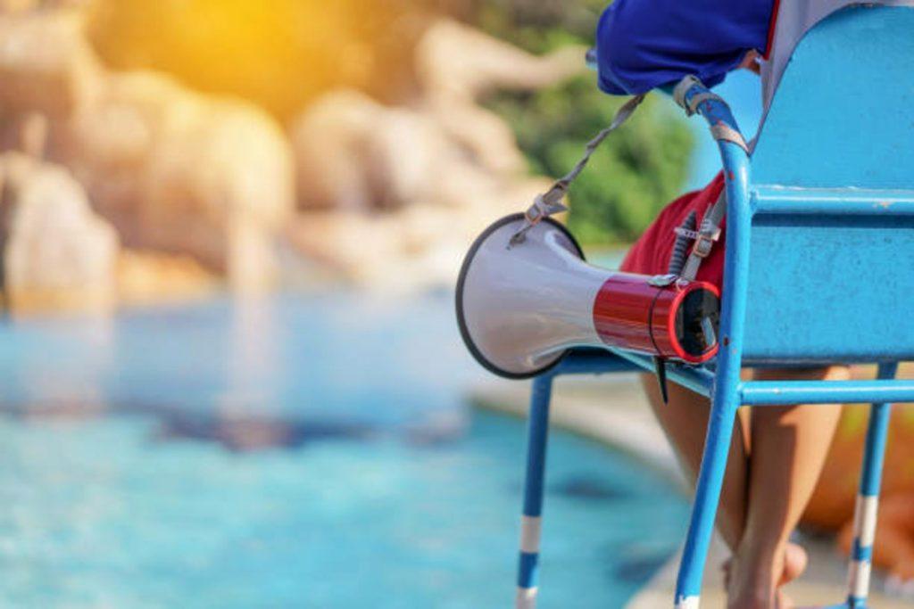lifeguard with a megaphone