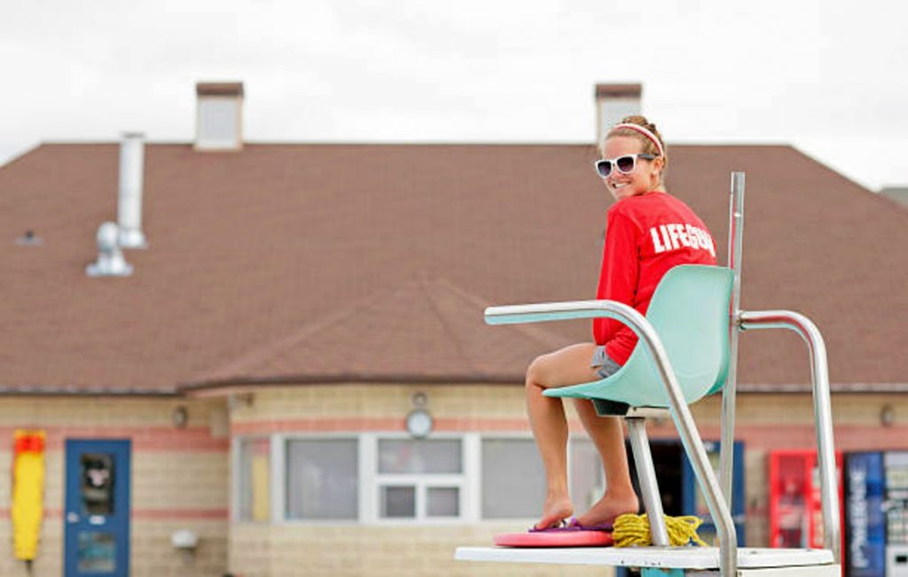 swimming pool lifeguard at her post